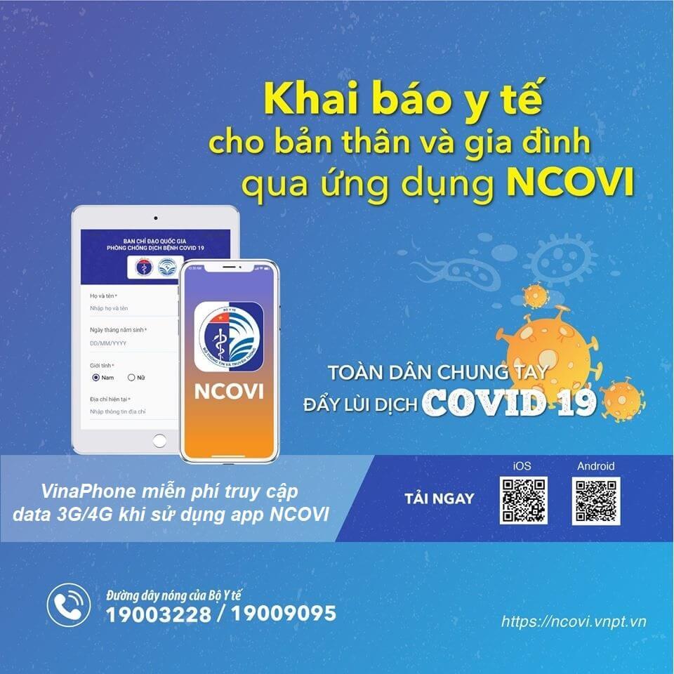 VinaPhone miễn phí data truy cập app NCOVI để khai báo y tế toàn dân, phòng chống dịch bệnh Covid-19