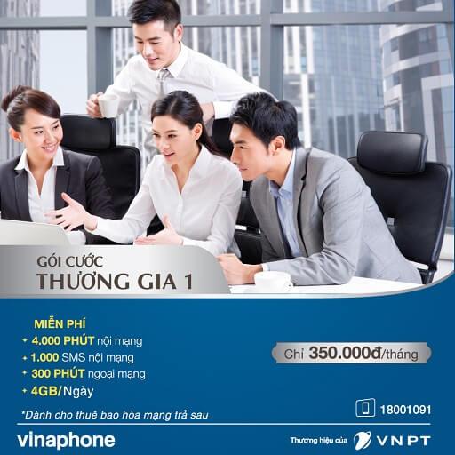 Gói cước Thương gia 1 VinaPhone trả sau 4.300 phút gọi 4GB/ngày